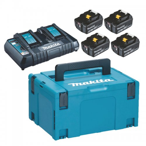 Sada 4 akumulátorů 18V 6,0Ah dvojnabíječka Makita 198091-4 DC18RD + 4x BL1860B
