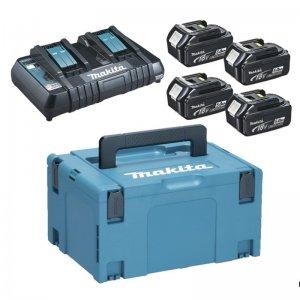 Sada 4 akumulátorů 18V BL1850B + nabíječka Makita 197626-8